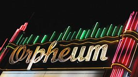 A cool shot of the classic old Orpheum Theatre neon sign in Los Angeles, California.