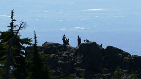 A shot of a bunch of hikers and mountain climbers arriving at the top of a mountain peak on a beautiful summer day.