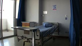A tilt down shot of a typical hospital room in Bangkok, Thailand.