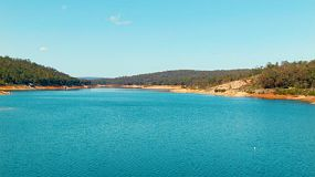 Lake C.Y. O'Connor (previously known as Helena River Reservoir) near Perth Western Australia, as seen from Mundaring Weir. Lake C.Y. O'Connor is one of Perth's main water reservoirs.
