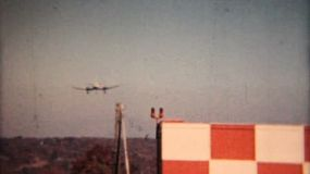 A large airplane comes in for a landing at a local airport in Moosic, Pennsylvania in 1958.