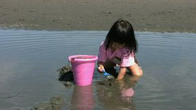 A cute little Thai girl playing at the beach filling up a pink bucket with sand.