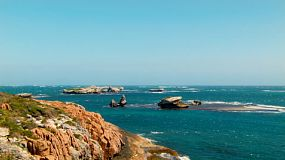 Looking out from Knobby Head to Honeycomb Rocks in Western Australia.