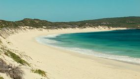 Looking down the beautiful beach at Hamelin Bay in Australia's South West.