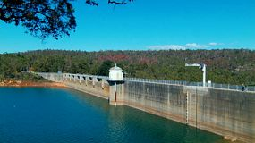 Looking down along Mundaring Weir, in the hills near Perth, Western Australia.