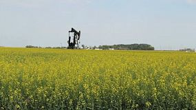 An oil pump works tirelessly pumping oil on a Canadian farm on the prairies.