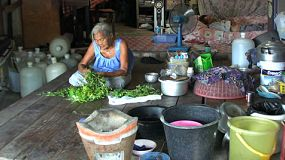 An older Asian woman working at her job preparing vegetables in the slums of Bangkok Thailand.