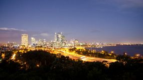 Time lapse of Perth City, Australia at dusk, as seen from King's Park.