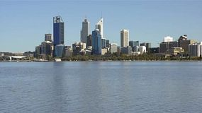 View of Perth city from across the Swan River on a clear spring day.