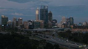 View of the City of Perth from King's Park as the last light disappears at dusk.