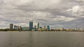 Time lapse of the City of Perth, Australia, with a view of the Swan River on a cloudy day.