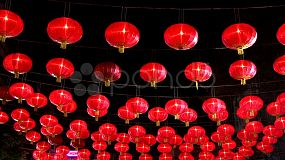 A low angle shot of beautiful Chinese Lanterns during Chinese New Year – often called Chinese Lunar New Year which is the most important of the traditional Chinese holidays.