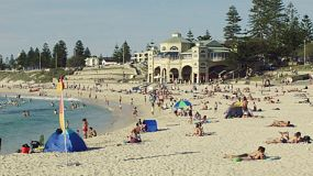 Many people enjoying a hot day at the beautiful Cottesloe Beach in Western Australia.