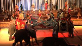 Live elephants participate in a Thai cultural show in Pattaya, Thailand.