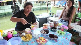 "An Asian lady preparing ""Nam Khaeng Sai"", which is a Thai version of shaved ice or snow cone dessert, in Bangkok, Thailand."