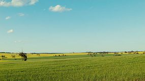 Time lapse of the view across fields on an Australian farm in spring, with green and gold crops under light clouds.