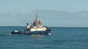 A tugboat heading out to sea to meet a ship at Fremantle Harbour in Western Australia.