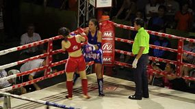 Two foreign female Muay Thai kick boxers fighting in Bangkok, Thailand.