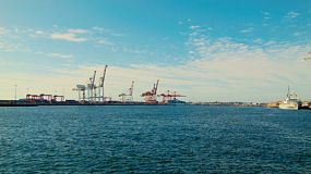 Looking across the water at the mouth of the Swan River towards Fremantle Port in Western Australia.