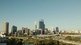 Looking down on the City of Perth skyline, as seen from King's Park in Western Australia.