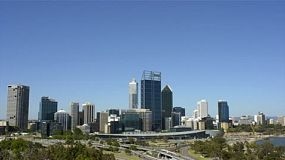 View of perth city, australia, from king's park in mid-afternoon on a summers day.