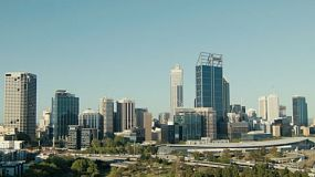 Looking down on the City of Perth skyline from King's Park in Western Australia.