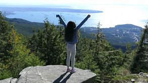 Cute Asian Girl Successfully Hikes Cypress Mountain With Vancouver Look Out