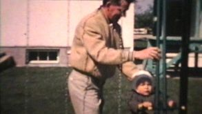 Dad Pushes Little Boy On Swing (1963 - Vintage 8mm Film)