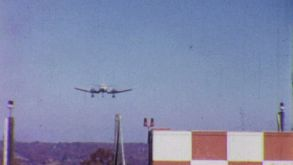 Large Airplane Comes In Fast For Landing-1958 Vintage 8mm Film