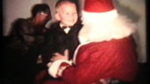 Little Boy Sits On Santas Knee (1962 - Vintage 8mm Film)