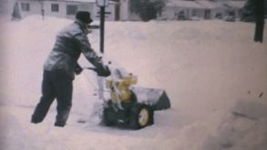 Man Using Snowblower After Winter Blizzard-1970 Vintage 8mm Film