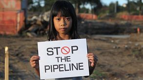 Stop The Pipeline Sign And Demonstration